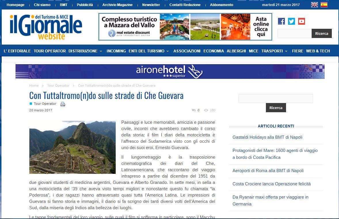 IL GIORNALE DEL TURISMO: CON TUTTALTROMO(N)DO SULLE STRADE DI CHE GUEVARA