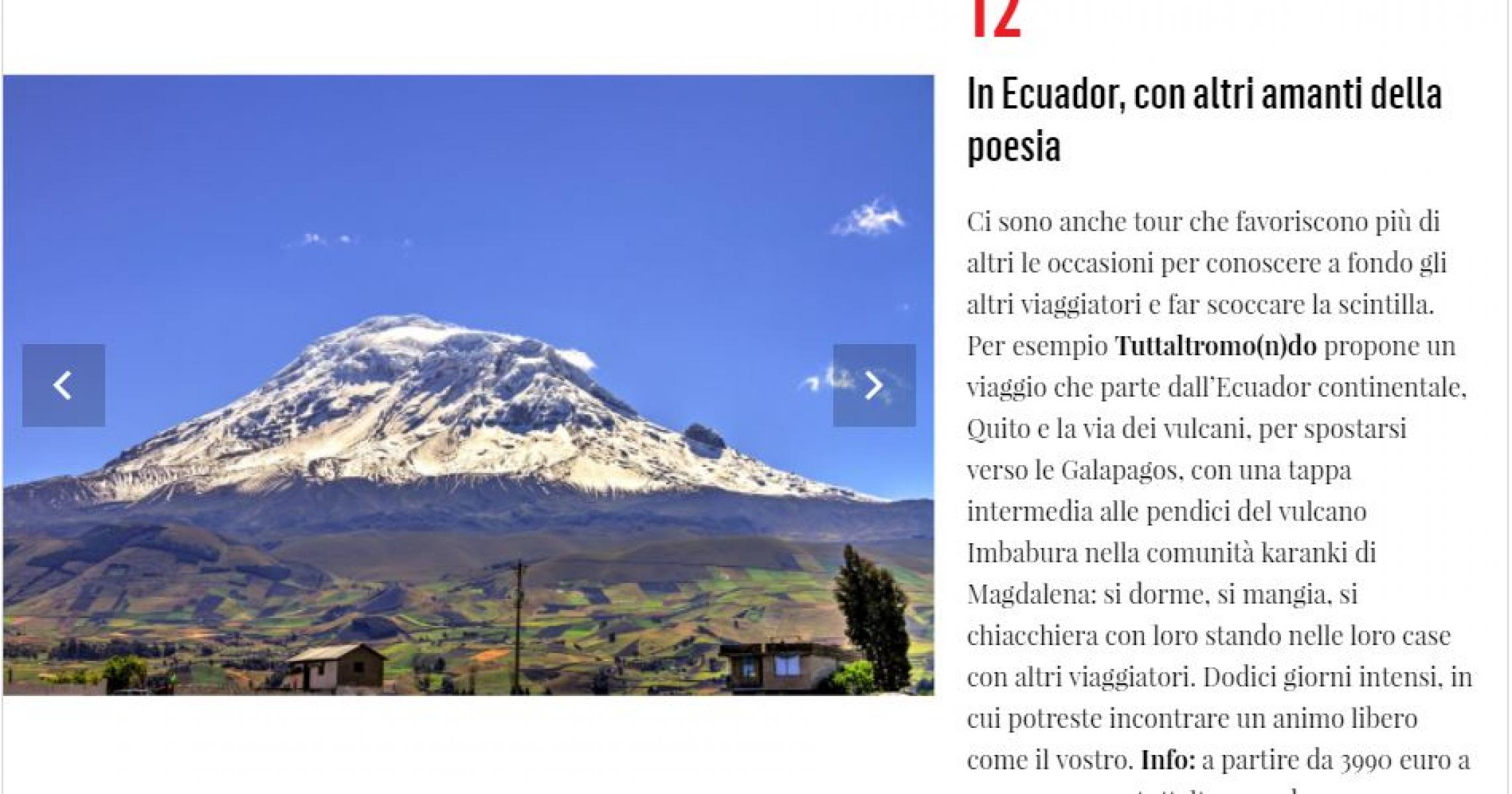 VANITY FAIR: IDEE PER VACANZE DA SINGLE, L'ECUADOR